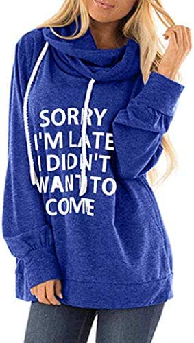NOMUSING Womens Pullover Sweatshirt Hoodie Casual Letter Print Loose Drawstring Jumper Slouchy Outerwear Overcoat Tunic