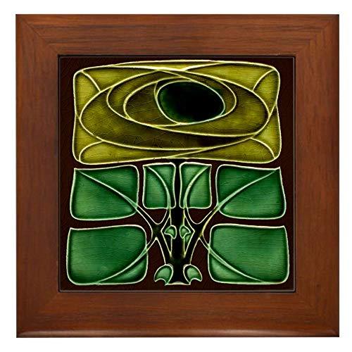 (CafePress Framed Tile with Art Nouveau Mackintosh Rose Framed Tile, Decorative Tile Wall Hanging)