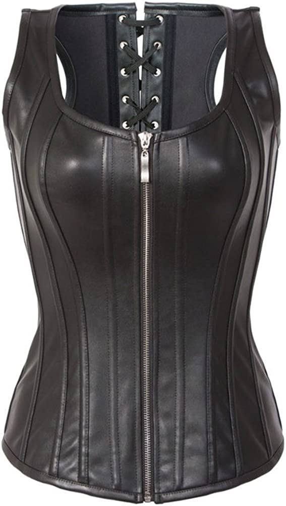 Details about  /Sexy Black Faux Leather Corset Dress with Lace Up sides size 10 12 14