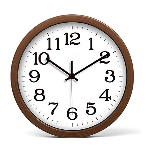 JUSTUP Silent Wall Clock, 10 Inches Non-Ticking Movement Imitation Wood Wall Clocks with Battery Operated Big Number HD Glass,Decorative for Home Kitchen Living Room Bedroom Office (Brown)