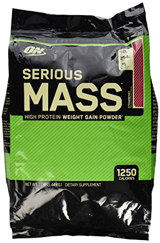 Optimum Nutrition Serious Mass Strawberry Weight Gain Protein Powder | 12 lbs
