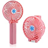 Deftun Handheld Fan Mini Portable Outdoor Electric USB Fan with Rechargeable 2200mAh Battery Adjustable 3 Speeds LED Light for Home and Travel, Pink