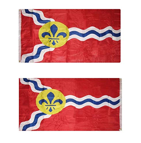 ALBATROS 3 ft x 5 ft City of St Saint Louis Missouri Flag Double Sided 2ply Nylon Banner for Home and Parades, Official Party, All Weather Indoors -