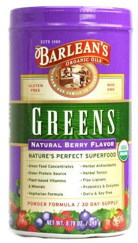 Barlean's Organic Greens Natural Berry -- 8.78 oz - 3PC by Barlean's Organic Oils