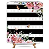 Pink and White Striped Shower Curtain Riyidecor Black and White Floral Striped Shower Curtain Weighted Hem Pink Flower Peony Blooming Herbs Spring Decor Fabric Bathroom Set 72x72 Inch for Bathtub with 12-Pack Plastic Shower Hooks