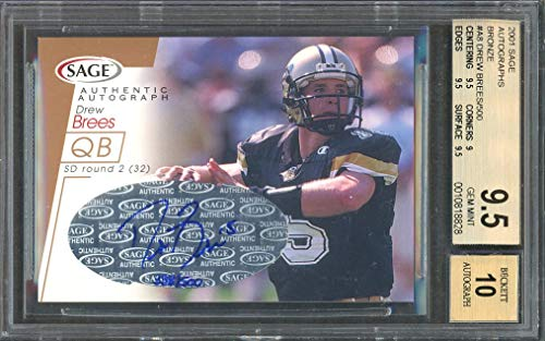 bronze #a8 DREW BREES saints rookie card BGS 9.5 auto 10 Graded Card ()