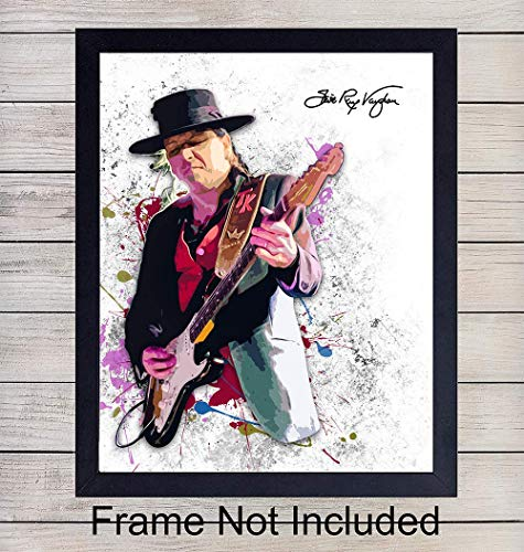 Stevie Ray Vaughan Unframed Wall Art Print - Great Gift for Music and Rock n Roll Fans - Cool Steampunk Home Decor - Ready to Frame (8x10) Vintage ()