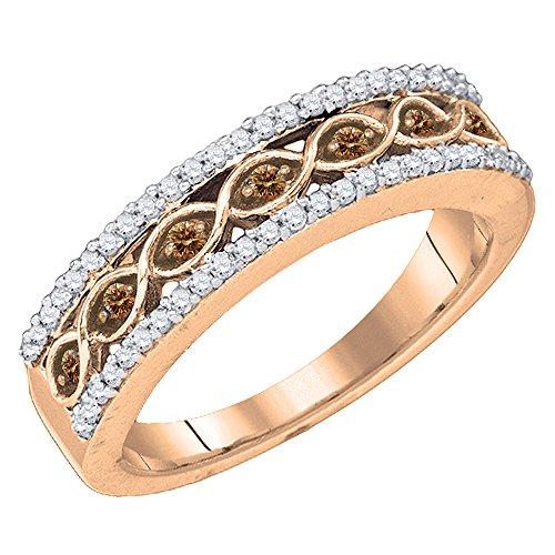 Dazzlingrock Collection 0.45 Carat (ctw) 10K Rose Gold Champagne & White Diamond Ladies Wedding Band 1/2 CT (Size ()