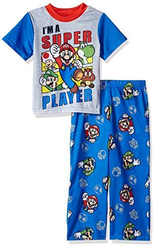 Super Mario Brothers Boys' Big Nintendo 2-Piece Pajama Set, Multi-Player Blues, 10