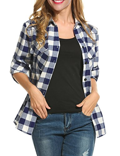 Oyamiki Women's Plus Size Flannel Buffalo Plaid Shirt Button-Down Cotton Boyfriend Top Navy/XXL ()