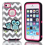 Iphone 5S Case,5S Case,*Uncle.Y High Impact Hybrid Plastic Hard + Soft Silicone Case Waves Cute Couple Owls For Iphone 5 5S Case Rose Red