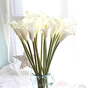 YJYdada Artificial Fake Flowers Leaf Calla Lily Floral Wedding Bouquet Party Home Decor (White) 76