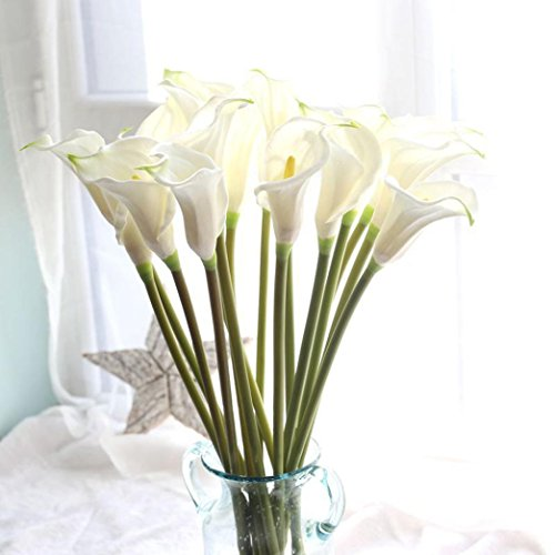 YJYdada Artificial Fake Flowers Leaf Calla Lily Floral Wedding Bouquet Party Home Decor (white) (Coral Turquoise Flower)