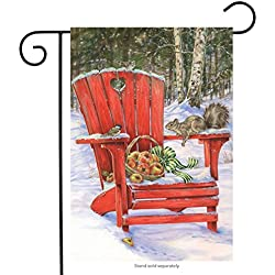 "Briarwood Lane Winter Gathering Garden Flag Adirondack Chair Apples Squirrel 12.5"" x 18"""