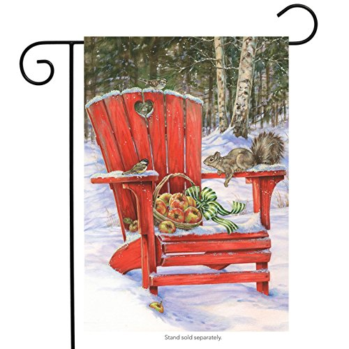 Adirondack Squirrel - Winter Gathering Garden Flag Adirondack Chair Apples Squirrel 12.5