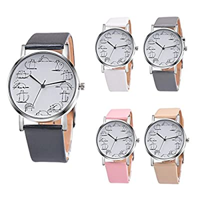 Han Shi Retro Wristwatch, Lovely Cartoon Cat Analog Alloy Quartz Watch Clock Leather Band