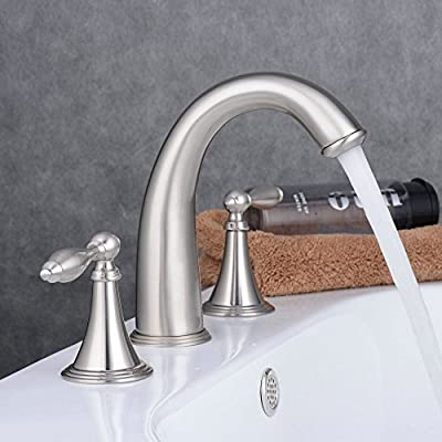 Ollypulse 8 Inch Deck Mount 3 Holes Double Handles Widespread Bathroom Sink Faucet