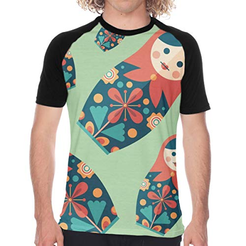 Russian Traditional Nesting Doll Flat Cartoon Culture Men's Short Sleeve T-Shirt Black -