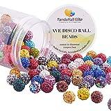 PandaHall Elite 1Box 10mm 100pcs Disco Ball Clay Beads Mixed Colors Pave Rhinestones Spacer Round Beads fit Shamballa Bracelet