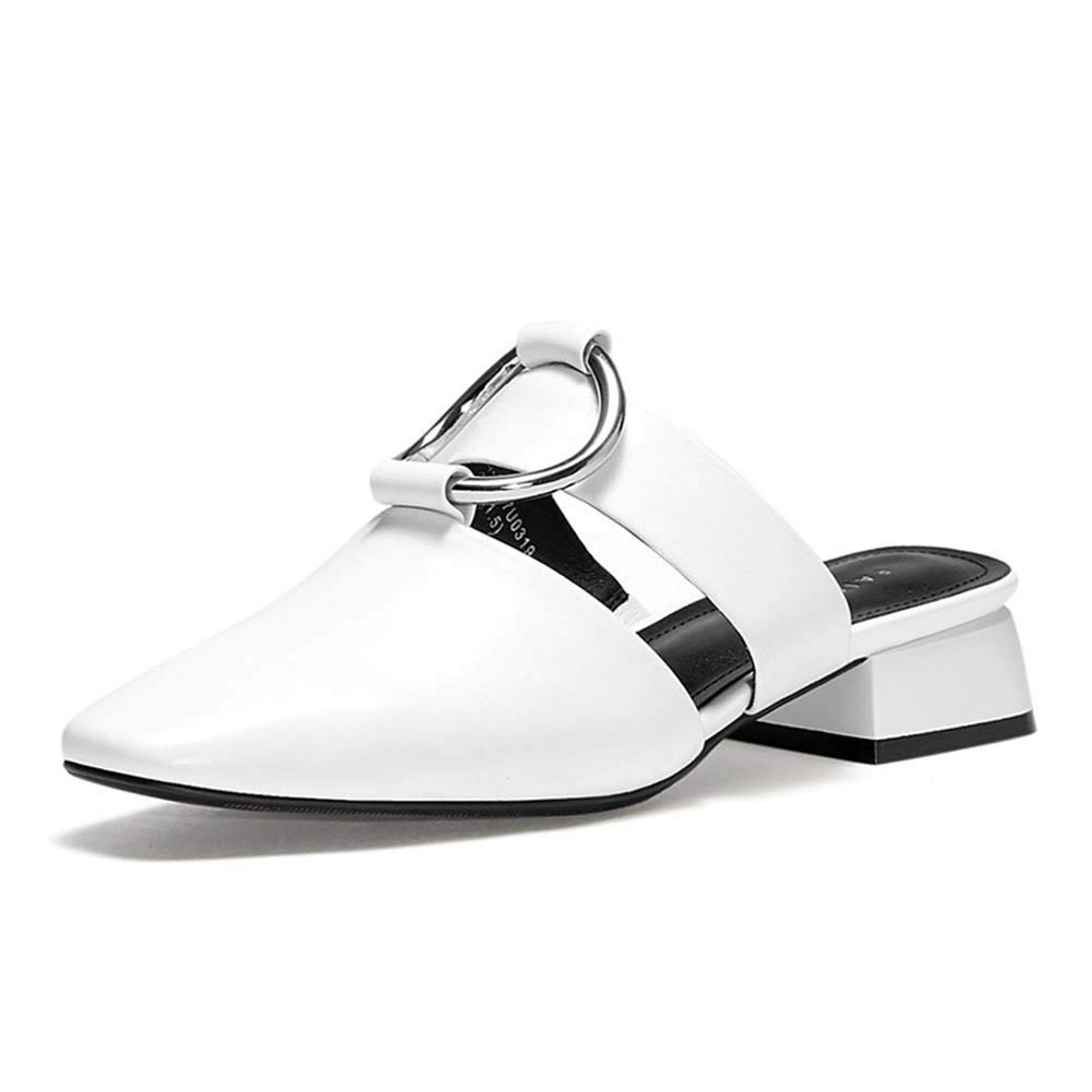 White Women's Spring and Summer Mules shoes, Leather Baotou Slippers Fashion Versatile Low-Heeled Cowhide Leather