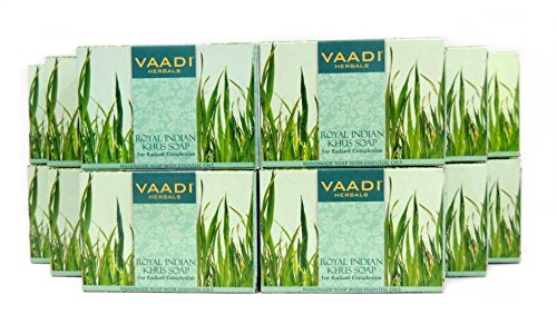 Vetiver Soap (Royal Indian Khus Bar Soap) with Olive and Soybean Oil - Handmade Herbal Soap (Aromatherapy) with 100% Pure Essential Oils - ALL Natural - For Radiant Complexion - Each 2.65 Ounces - Pac