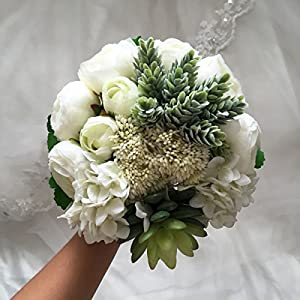 Lily Garden Hydrangea Berry Succulents Plant Ranunculus Wedding Bouquet 43