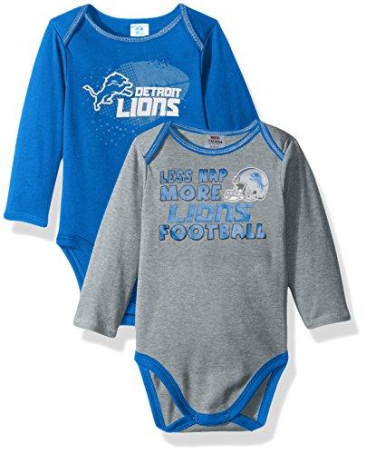 NFL Detroit Lions Boys Long Sleeve Bodysuit (2 Pack), 18 Months, Blue
