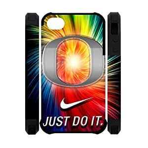 Colorful NCAA Oregon Ducks iPhone 4 4S Dual-Protective Polymer Case Cover with NIKE JUST DO IT Logo