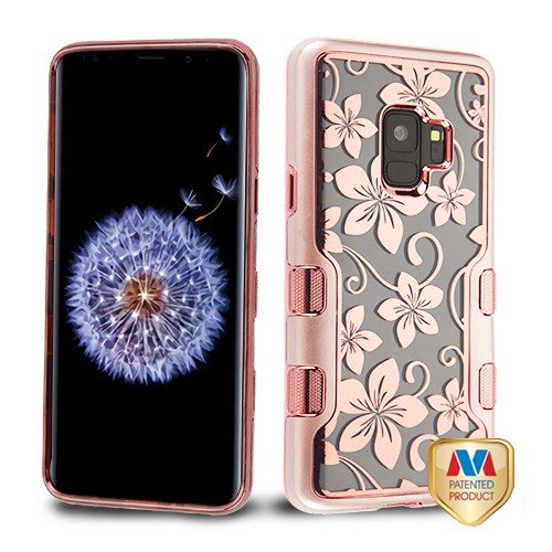Metallic Rose Gold/Electroplating Rose Gold Hibiscus Flower (Transparent Clear) TUFF Panoview Hybrid Protector Cover (with Package) for Samsung Galaxy S9