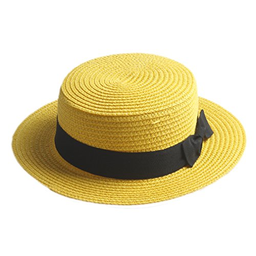 Elee Children Girls Straw Bowler Derby Hat Round Flat Brim Caps (Yellow )