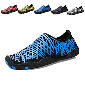 KISFLY Men Women Quick-Dry Water Barefoot Running Gym Shoes For Beach Pool Surf Yoga Exercise Blue Size 9.5