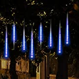 Topist Falling Rain Christmas Lights, Waterproof LED Meteor Shower Lights with 30cm 8 Tube 144 LEDs, Icicle Snow Fall String Cascading Lights for Party, Holiday, Xmas Tree, Garden Decoration (Blue)