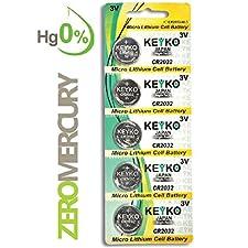 2032 Battery CR2032 3V Lithium Coin Cell Battery Type : CR2032 / DL2032 / ECR2032 Genuine KEYKO ® Supreme High EnergyTM - 5 pcs Pack