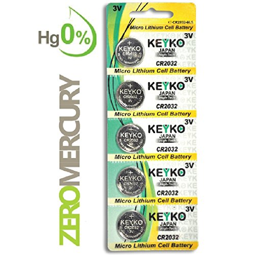 2032 Battery CR2032 3V Lithium Coin Cell Battery Type : CR2032 / DL2032 / ECR2032 Genuine KEYKO ® Supreme High Energy™ - 5 pcs Pack
