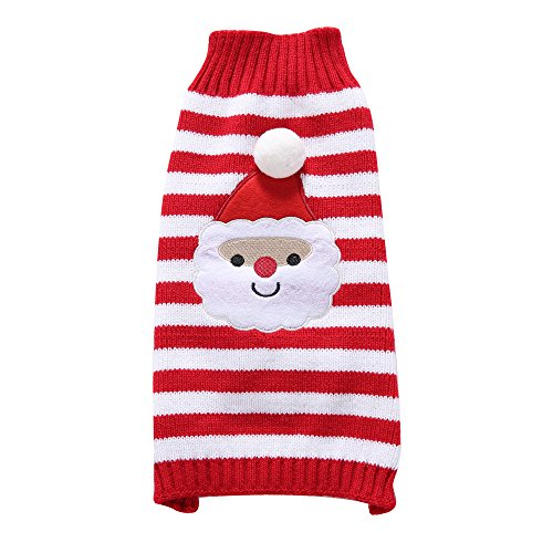S-Lifeeling Santa Claus Dog Sweater Holiday Halloween Christmas Pet Clothes Soft Comfortable Dog Clothes