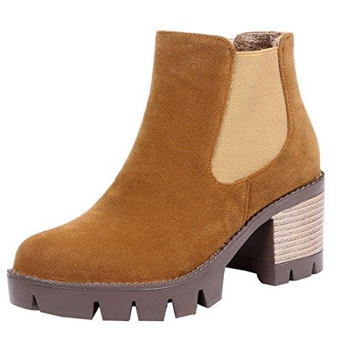 YE High Heels Plateau Warme Chelsea Stiefeletten Wildleder mit Blockabsatz Herbst Winter Short Ankle Boots Schuhe Braun