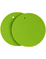 2 Pack Silicone Pot Holders,Thick Silicone Trivet Mat,Hot Pads,Heat Resistant,Non-Slip,Durable,Flexible Easy to wash and Dry(Green)