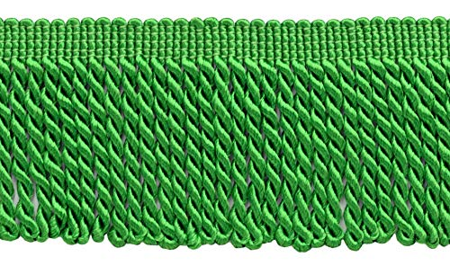DÉCOPRO 10 Yard Value Pack of 2.5 Inch Kelly Green Bullion Fringe Trim|Style# EF25|Color: 182 (30 Ft / 9.1 Meters)
