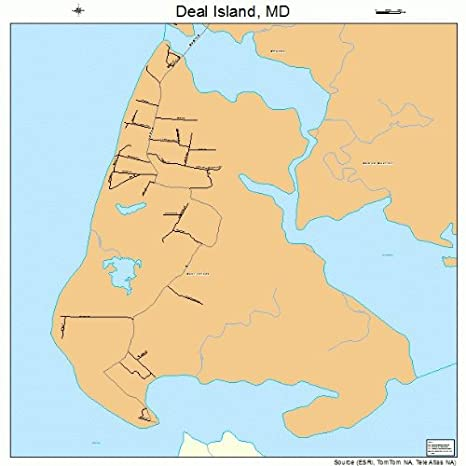 Amazon com: Large Street & Road Map of Deal Island, Maryland