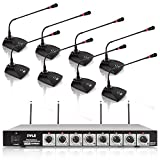 8 Channel Wireless Microphone System - Portable VHF Cordless Audio Mic Set with 1/4' and XLR Output,...