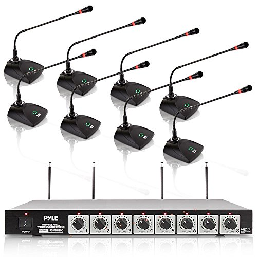 8 Channel Wireless Microphone System - Portable VHF Cordless Audio Mic Set with 1/4 and XLR Output, Dual Antenna, Includes 8 Table Top Mics, Rack Mountable Receiver Base - Pyle Pro PDWM8300 (Rack Mountable Power Amplifier)