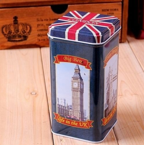 UK British Flag Big Ben Guard Bridge Telephone Coffee Tea Container Jar Tin Box #1 (British Tea Canister compare prices)