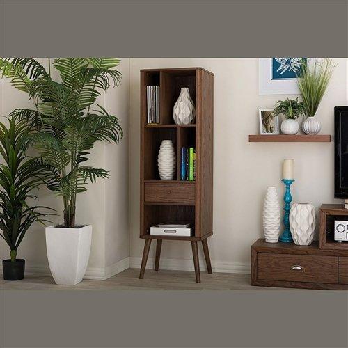 CHOOSEandBUY Mid-Century Modern Bookcase Display Shelf in Walnut Wood Finish Bookcase Storage Shelf Bookshelf Wood - Solid Walnut Knob