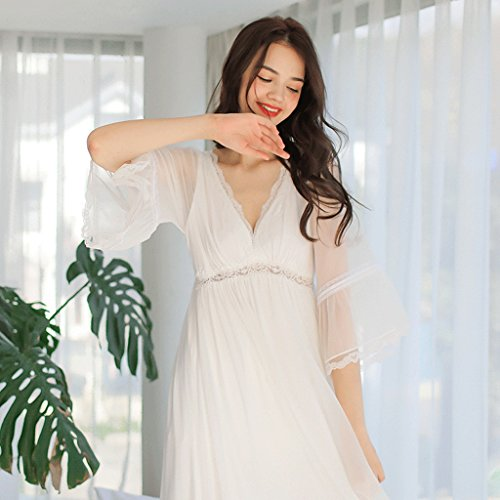 sexy and yarn White net Spring neck Size S dress sleep summer White Color long V sleeved nqRwqdYxtW