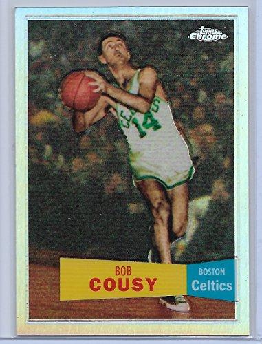 - 2007-08 Topps Chrome Basketball Bob Cousy 1957-58 Variation Refractor Card # 757/999