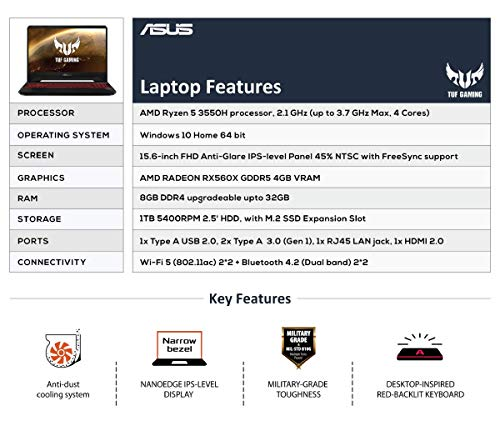 """ASUS TUF Gaming FX505DY 15.6"""" Laptop and Backpack - - Laptops4Review"""