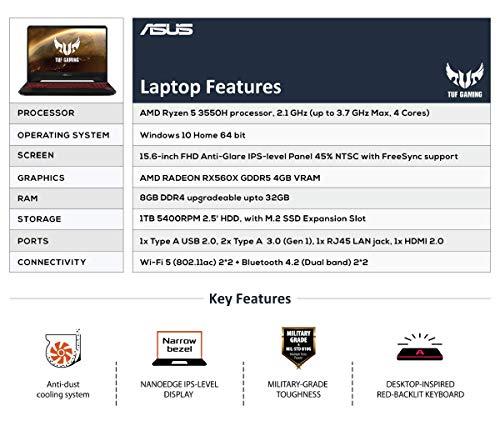 ASUS TUF Gaming FX505DY-BQ002T 15.6-inch FHD Laptop (AMD Ryzen 5-3550H/8GB/1TB HDD/Windows 10/Radeon RX 560X 4GB… -  - Laptops4Review