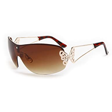 df93332db34 Vintage Oversized Women s Fashion Shield Wrap Around Sunglasses Frameless  One Piece Metal Butterfly Glasses(Brown