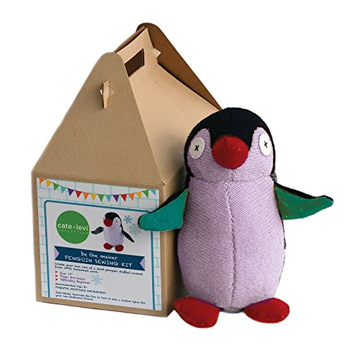 Cate and Levi 14 Handmade Penguin Plush Stuffed Animal Making Kit (Premium Reclaimed Wool), Colors Will Vary