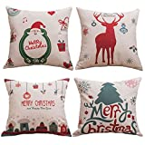 WoodBury Throw Pillow Case Decorative Cushion Cover Pillowcase Square Merry Christmas Series Set of 4